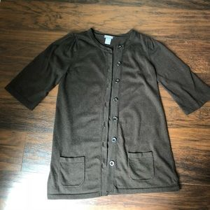 Ann Taylor long cardigan button up brown small
